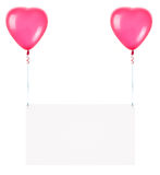 Banderas del día de fiesta con los globos de la tarjeta del día de San Valentín Foto de archivo libre de regalías