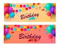 Banderas del día de fiesta con los globos y el confeti coloridos Ilustración del vector stock de ilustración