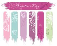 Banderas del día de tarjeta del día de San Valentín Foto de archivo
