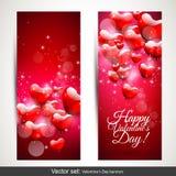 Banderas del día de tarjeta del día de San Valentín Fotografía de archivo