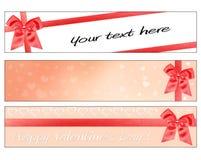 Banderas del día de tarjetas del día de San Valentín imagen de archivo libre de regalías