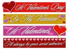 Banderas del día de tarjetas del día de San Valentín Fotografía de archivo
