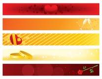 Banderas del día de tarjetas del día de San Valentín Fotografía de archivo libre de regalías
