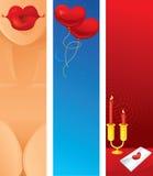 Banderas del día de tarjetas del día de San Valentín Imagenes de archivo