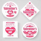 Banderas del día de tarjetas del día de San Valentín stock de ilustración