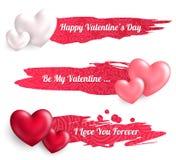 Banderas del día de tarjetas del día de San Valentín con los globos del corazón Imágenes de archivo libres de regalías