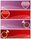 Banderas del día de tarjetas del día de San Valentín fijadas Imagenes de archivo