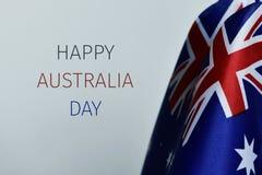 Banderas del día feliz de Australia y de Australia del texto imagen de archivo libre de regalías