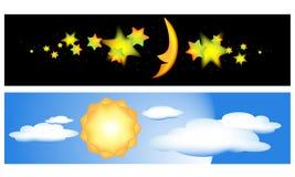 Banderas del día y de la noche Foto de archivo libre de regalías