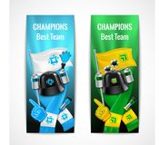 Banderas del deporte de la fan fijadas Fotos de archivo