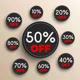 Banderas del descuento -10% -20% -30% -40% -50% -60% -70% -80% -90% de iconos stock de ilustración