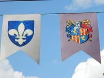 Banderas del escudo de armas Foto de archivo