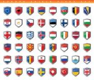 Banderas del escudo de Europa fijadas stock de ilustración
