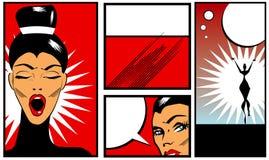 Banderas del estilo del cómic del arte pop con la mujer hermosa en b negro Foto de archivo