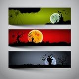 Banderas del feliz Halloween fijadas Imagen de archivo libre de regalías