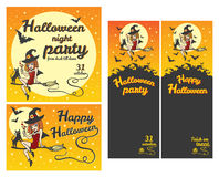 Banderas del feliz Halloween, invitaciones del partido, sistema de la tarjeta de felicitación Foto de archivo libre de regalías