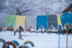 Banderas del fondo de la Navidad en la nieve Imágenes de archivo libres de regalías