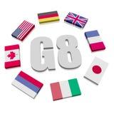Banderas del Grupo de los Ocho Imágenes de archivo libres de regalías