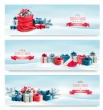 Banderas del invierno de la Navidad con los presentes Imagen de archivo libre de regalías