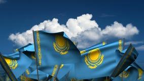 Banderas del Kazakh que agitan stock de ilustración