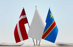 Banderas del Manual del Transportista de Dinamarca y de República Democrática del Congo, DROC, Congo-Kinshasa imagen de archivo libre de regalías