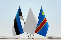 Banderas del Manual del Transportista de Estonia y de República Democrática del Congo, DROC, Congo-Kinshasa fotos de archivo libres de regalías