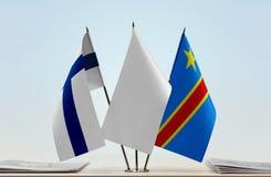 Banderas del Manual del Transportista de Finlandia y de República Democrática del Congo, DROC, Congo-Kinshasa imagen de archivo