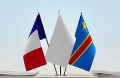 Banderas del Manual del Transportista de Francia y de República Democrática del Congo, DROC, Congo-Kinshasa foto de archivo
