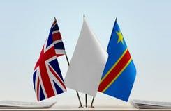 Banderas del Manual del Transportista de Gran Bretaña y de República Democrática del Congo, DROC, Congo-Kinshasa fotos de archivo