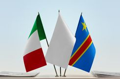 Banderas del Manual del Transportista de Italia y de República Democrática del Congo, DROC, Congo-Kinshasa fotos de archivo libres de regalías