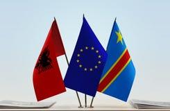 Banderas del Manual del Transportista de la unión europea y de República Democrática del Congo de Albania, DROC, Congo-Kinshasa foto de archivo