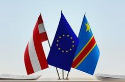 Banderas del Manual del Transportista de la unión europea y de República Democrática del Congo de Austria, DROC, Congo-Kinshasa fotografía de archivo libre de regalías