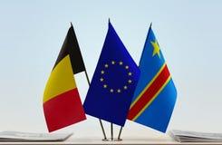 Banderas del Manual del Transportista de la unión europea y de República Democrática del Congo de Bélgica, DROC, Congo-Kinshasa fotos de archivo