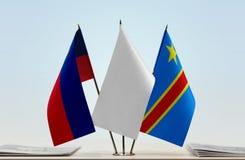 Banderas del Manual del Transportista de Liechtenstein y de República Democrática del Congo, DROC, Congo-Kinshasa imagen de archivo