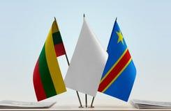 Banderas del Manual del Transportista de Lituania y de República Democrática del Congo, DROC, Congo-Kinshasa fotos de archivo