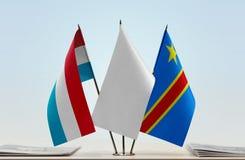 Banderas del Manual del Transportista de Luxemburgo y de República Democrática del Congo, DROC, Congo-Kinshasa imagen de archivo libre de regalías