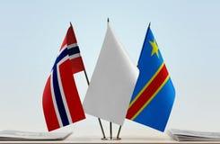 Banderas del Manual del Transportista de Noruega y de República Democrática del Congo, DROC, Congo-Kinshasa imagenes de archivo