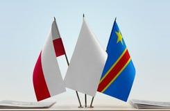 Banderas del Manual del Transportista de Polonia y de República Democrática del Congo, DROC, Congo-Kinshasa imagen de archivo libre de regalías