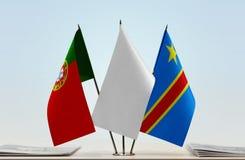 Banderas del Manual del Transportista de Portugal y de República Democrática del Congo, DROC, Congo-Kinshasa fotos de archivo libres de regalías