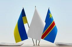 Banderas del Manual del Transportista de Ucrania y de República Democrática del Congo, DROC, Congo-Kinshasa foto de archivo libre de regalías