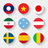 Banderas del mundo, botones redondos Imágenes de archivo libres de regalías