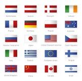 Banderas del mundo como sellos Fotos de archivo