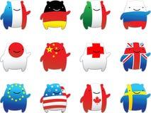 Banderas del mundo de la diversión Imágenes de archivo libres de regalías