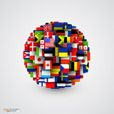 Banderas del mundo en la forma de esfera Fotos de archivo