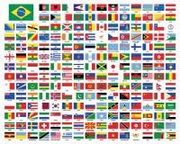 Banderas del mundo Indicadores del mundo Imágenes de archivo libres de regalías