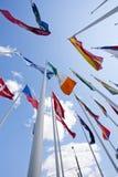 Banderas nacionales del país diferente Imagen de archivo
