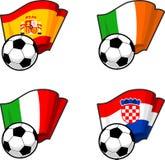 Banderas del mundo y balón de fútbol Imagen de archivo