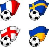Banderas del mundo y balón de fútbol Fotos de archivo libres de regalías