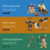 Banderas del nativo americano con cualidades nacionales Imagenes de archivo