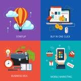 Banderas del negocio, arranque, compra en un tecleo libre illustration